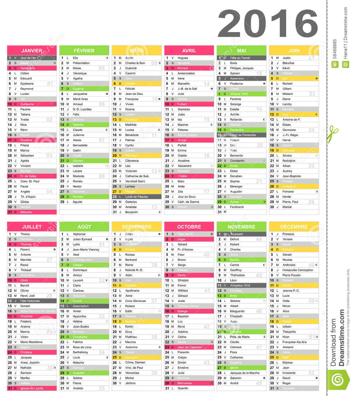 French calendar for year 2016, including name days and official ...
