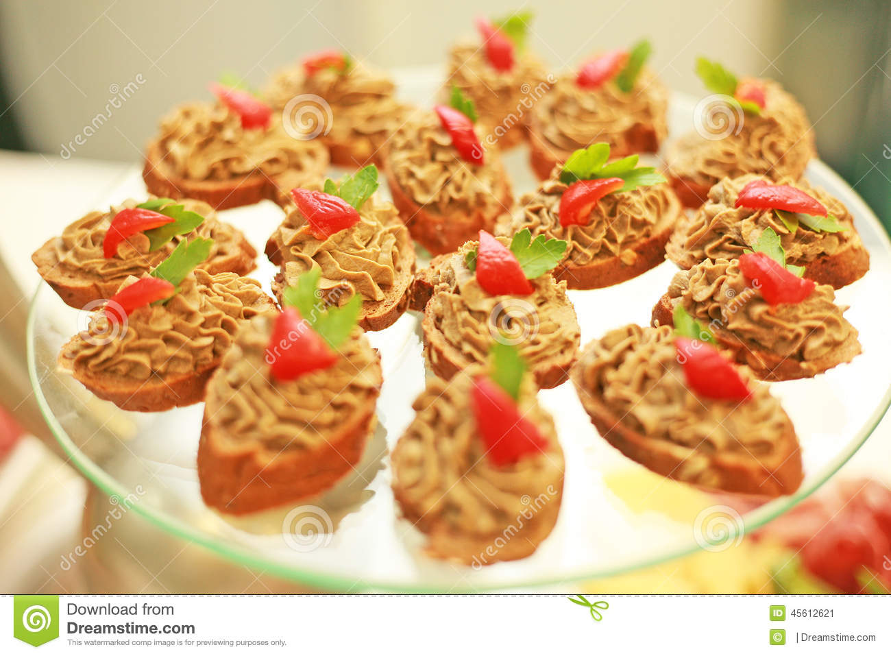 French canapes in a cafe stock image image of fresh for Canape hors d oeuvres difference