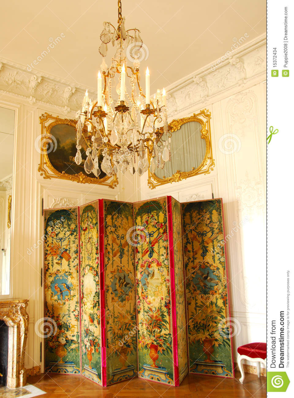 French Chandelier And Room Divider Editorial Stock Image Image of