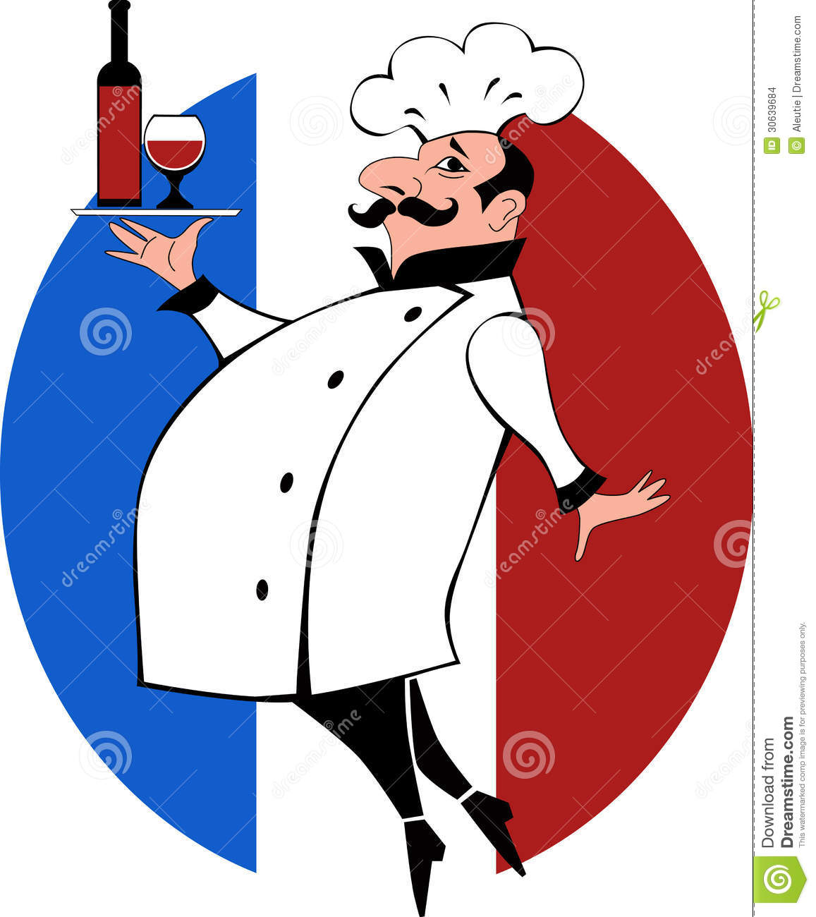 ... mustache in chef uniform carrying a tray bottle of wine and a glass