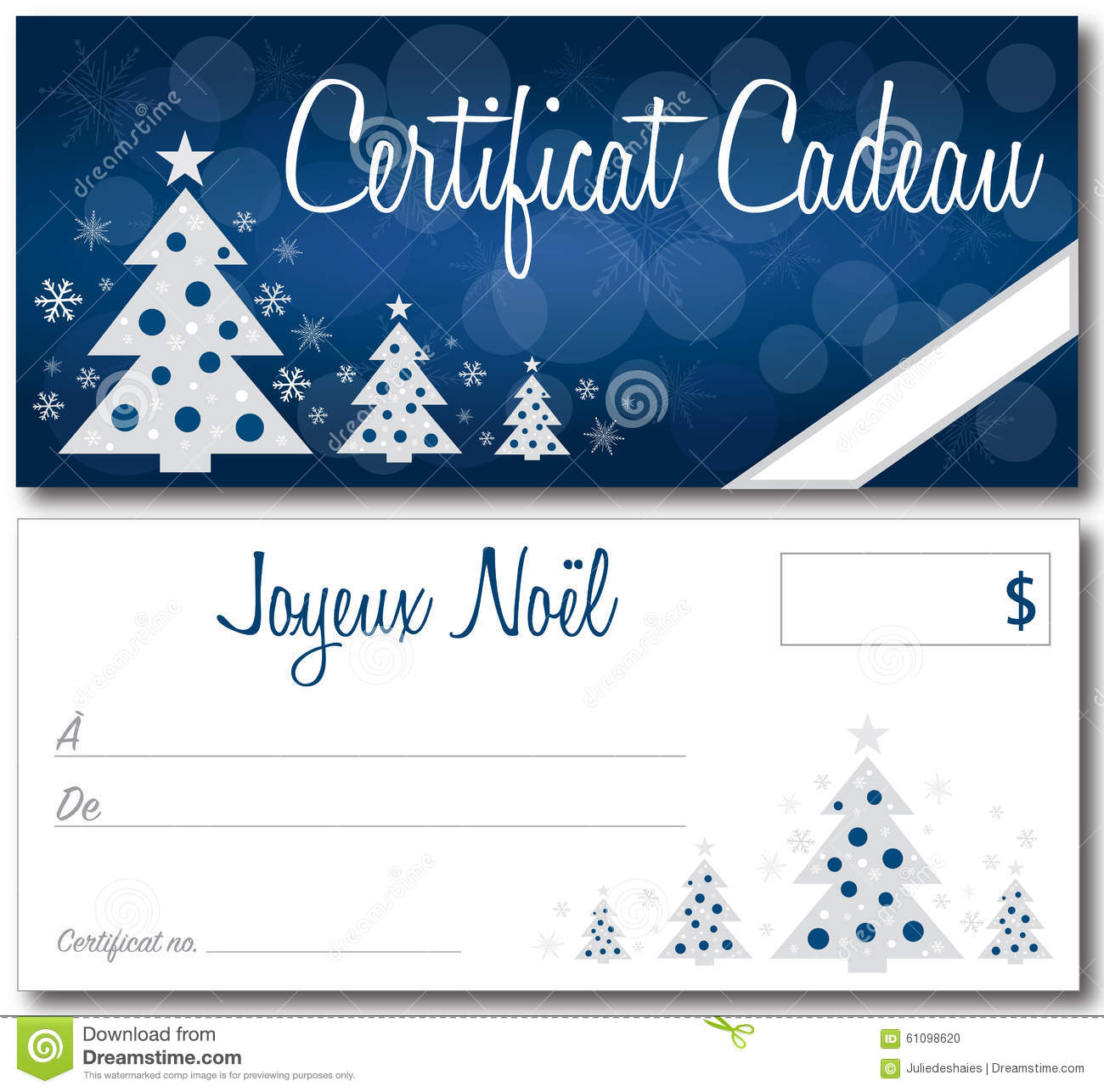 french christmas gift certificate stock vector image  french christmas gift certificate