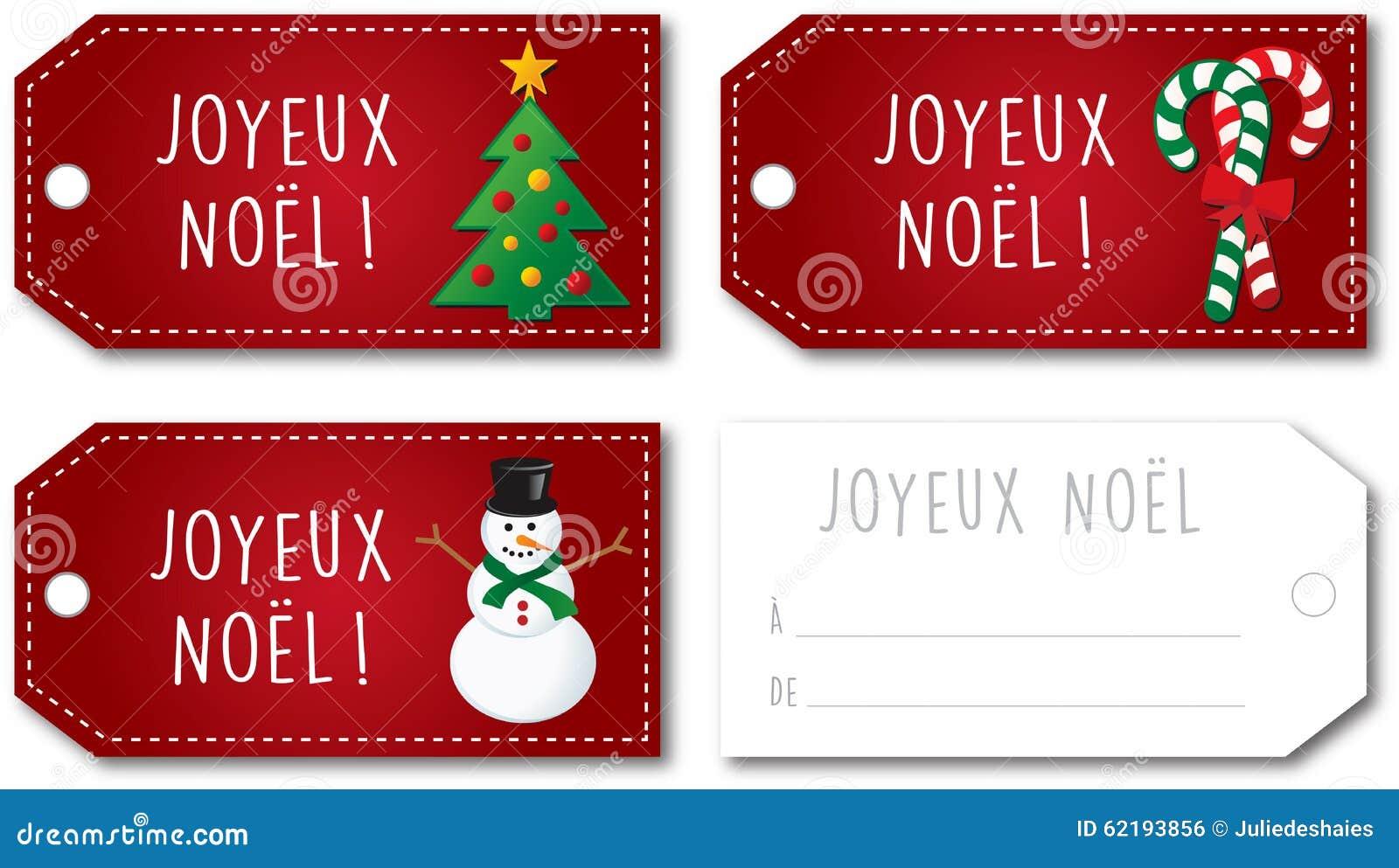 French Christmas Gift Tag Set Stock Illustration - Image: 62193856