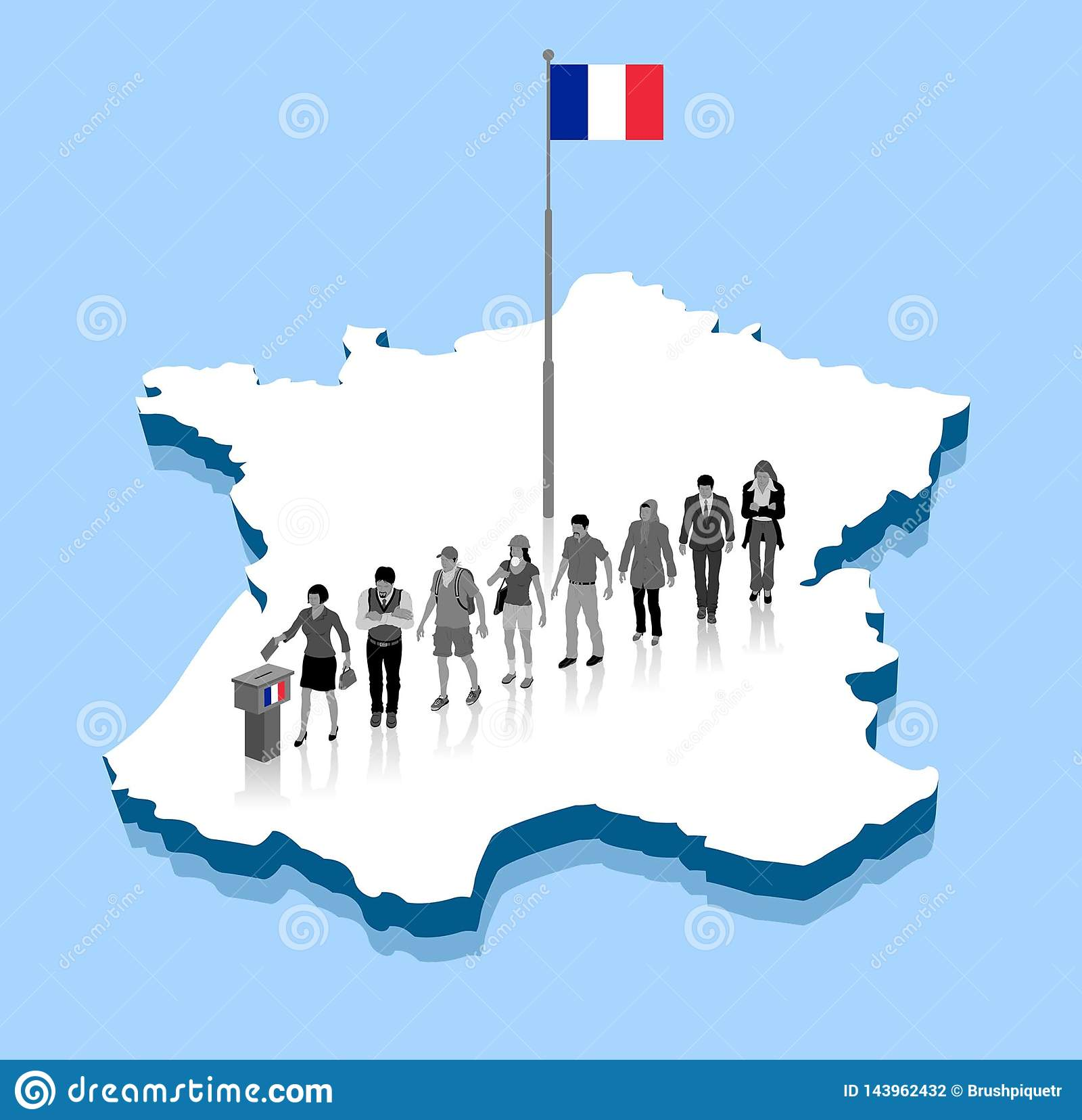 Map Of France Voting.French Citizens Are Voting For Election Over A France 3d Map With