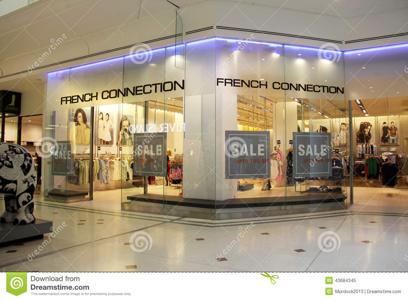 14cb709bf15 London, England - July 12, 2014: Entrance of French Connection Store in  Blue Water shopping Mall in England.