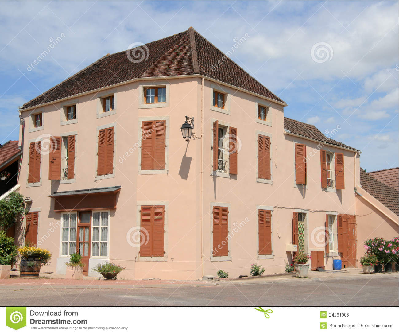 French country house on corner stock photo image of home for Casas con jardin interior