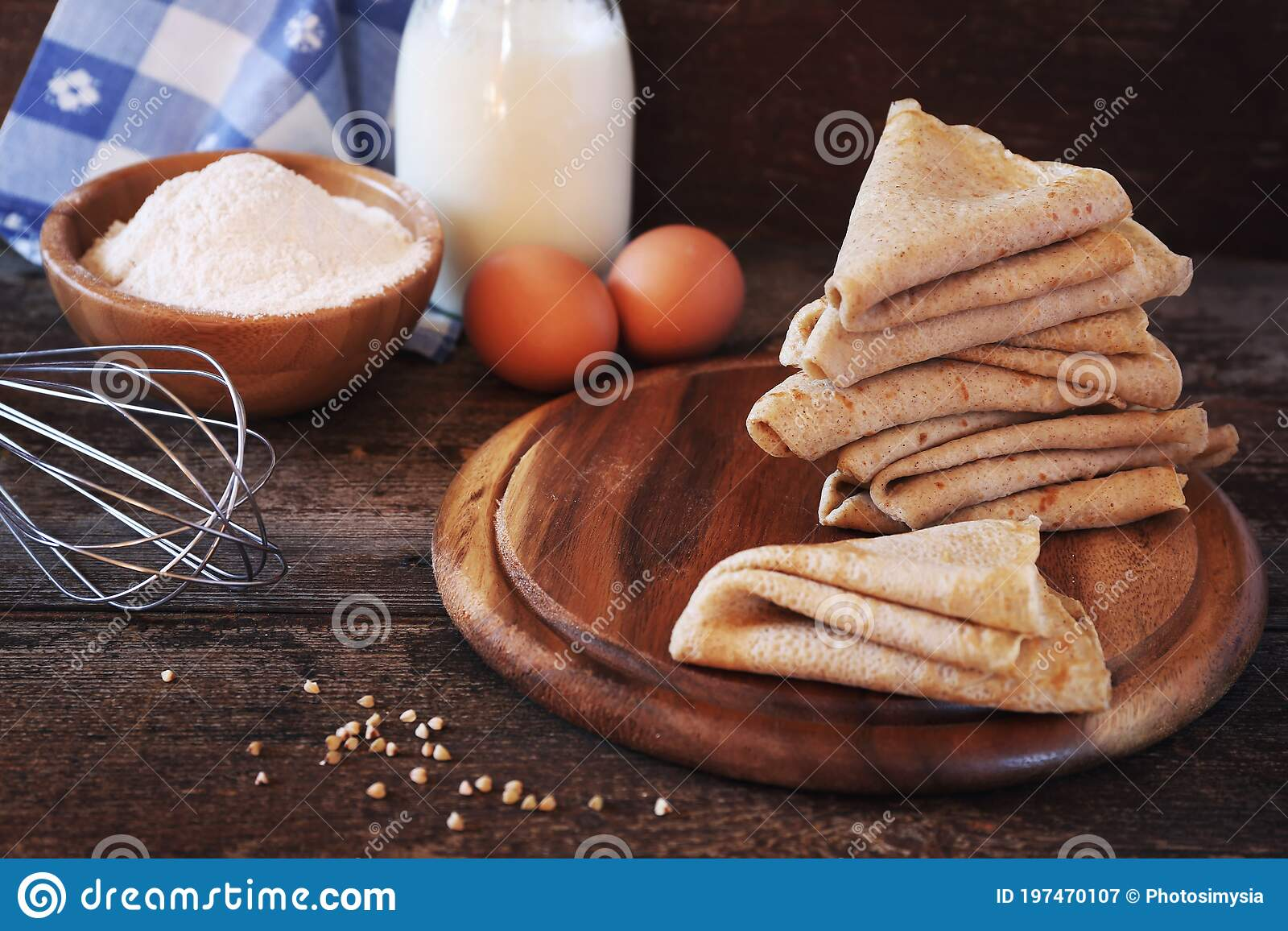 French Cuisine Breton Buckwheat Crepes And Their Ingredients Stock Image Image Of French Pancakes 197470107