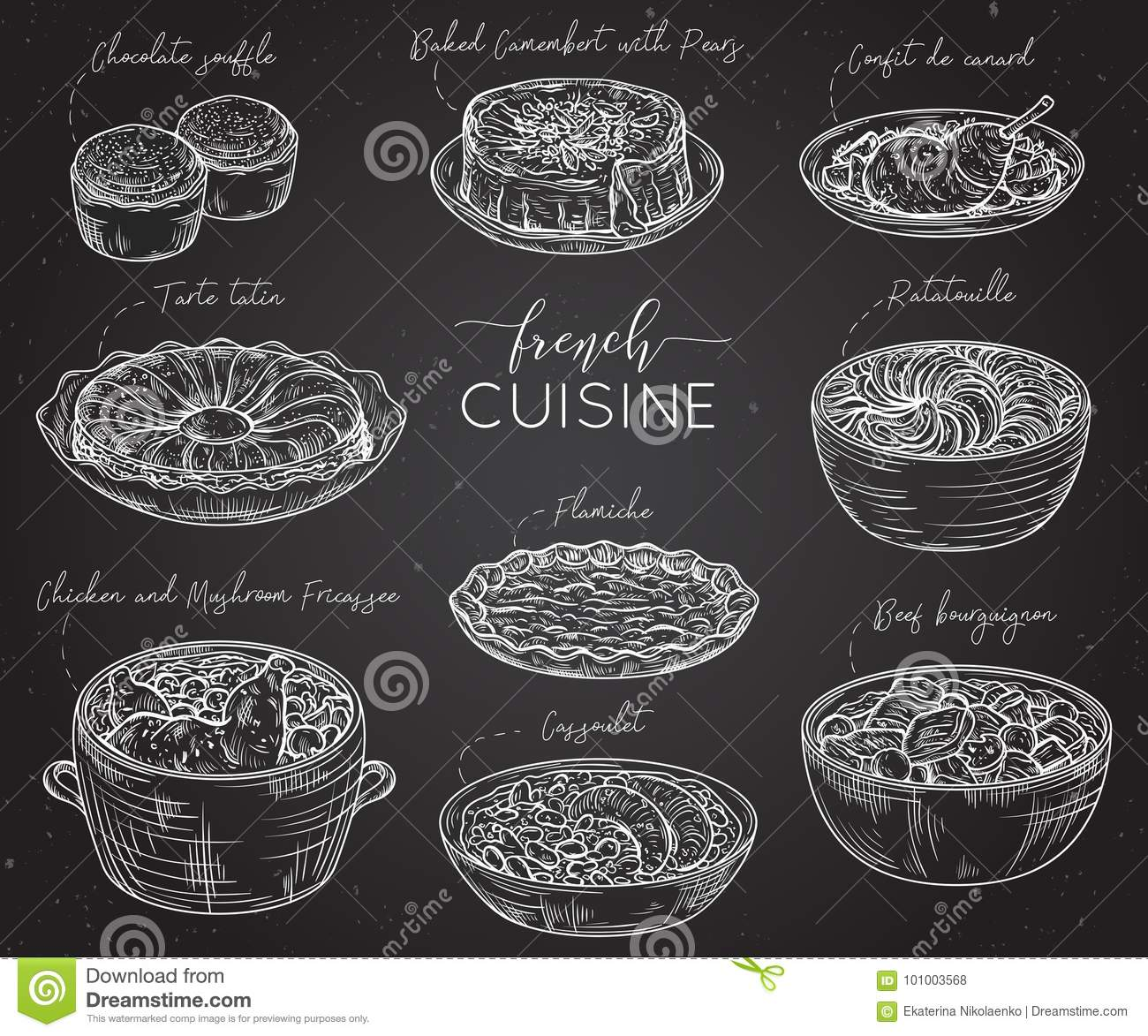 French Cuisine Collection Of Delicious Food On Chalkboard Elements