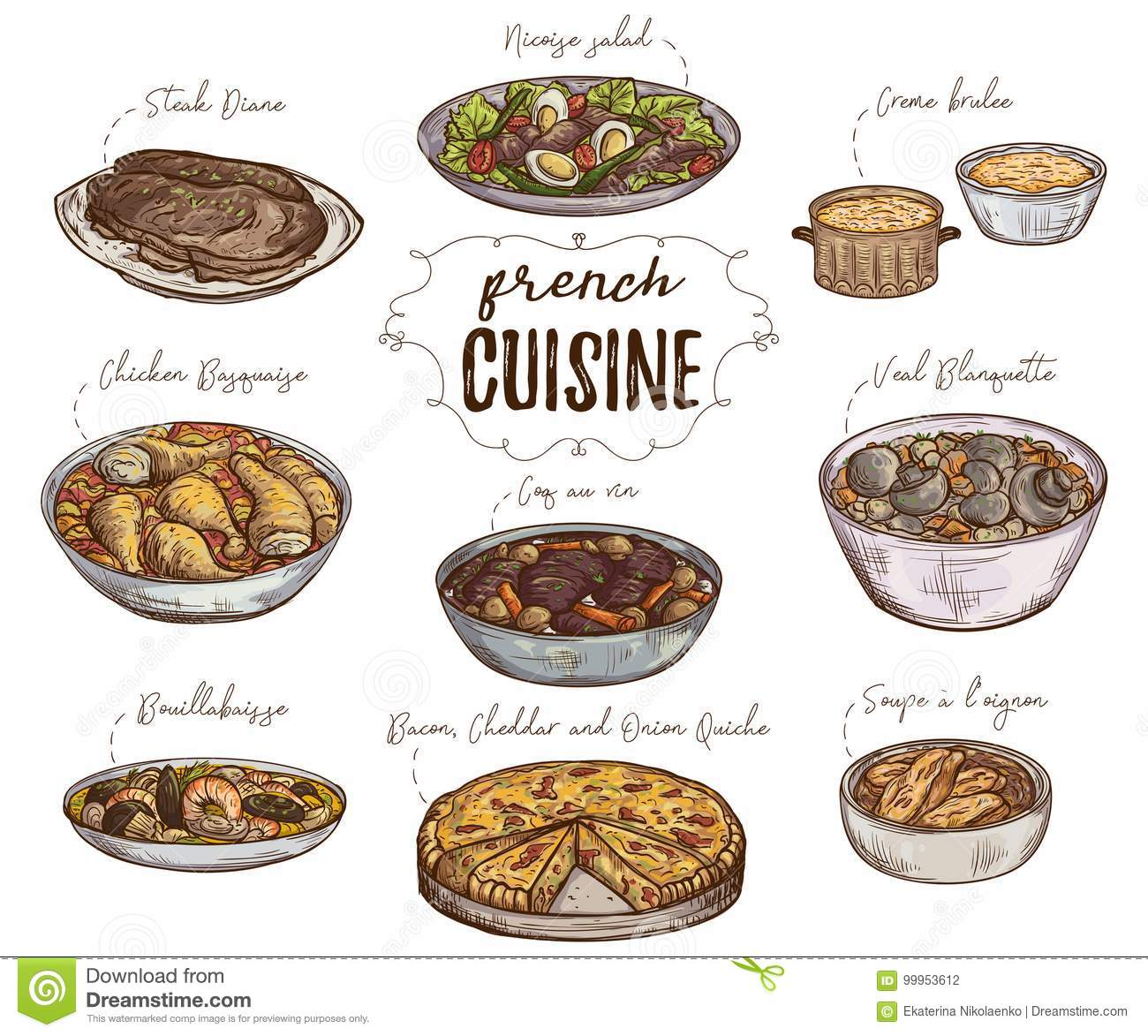 French Cuisine Collection Of Delicious Food Elements Stock Vector