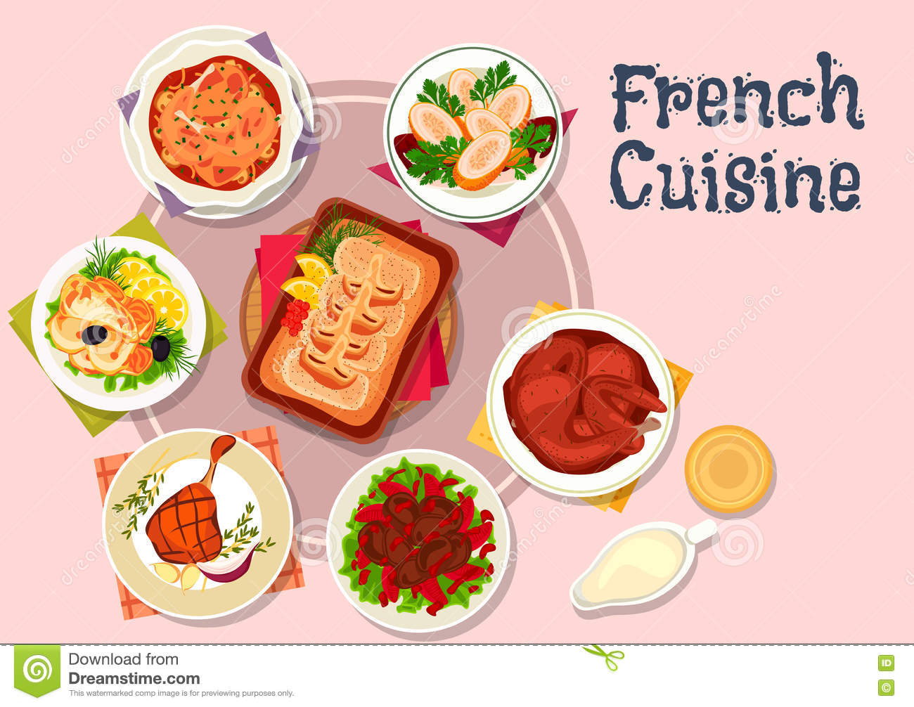French cuisine dishes for restaurant menu design stock for Fish dish menu
