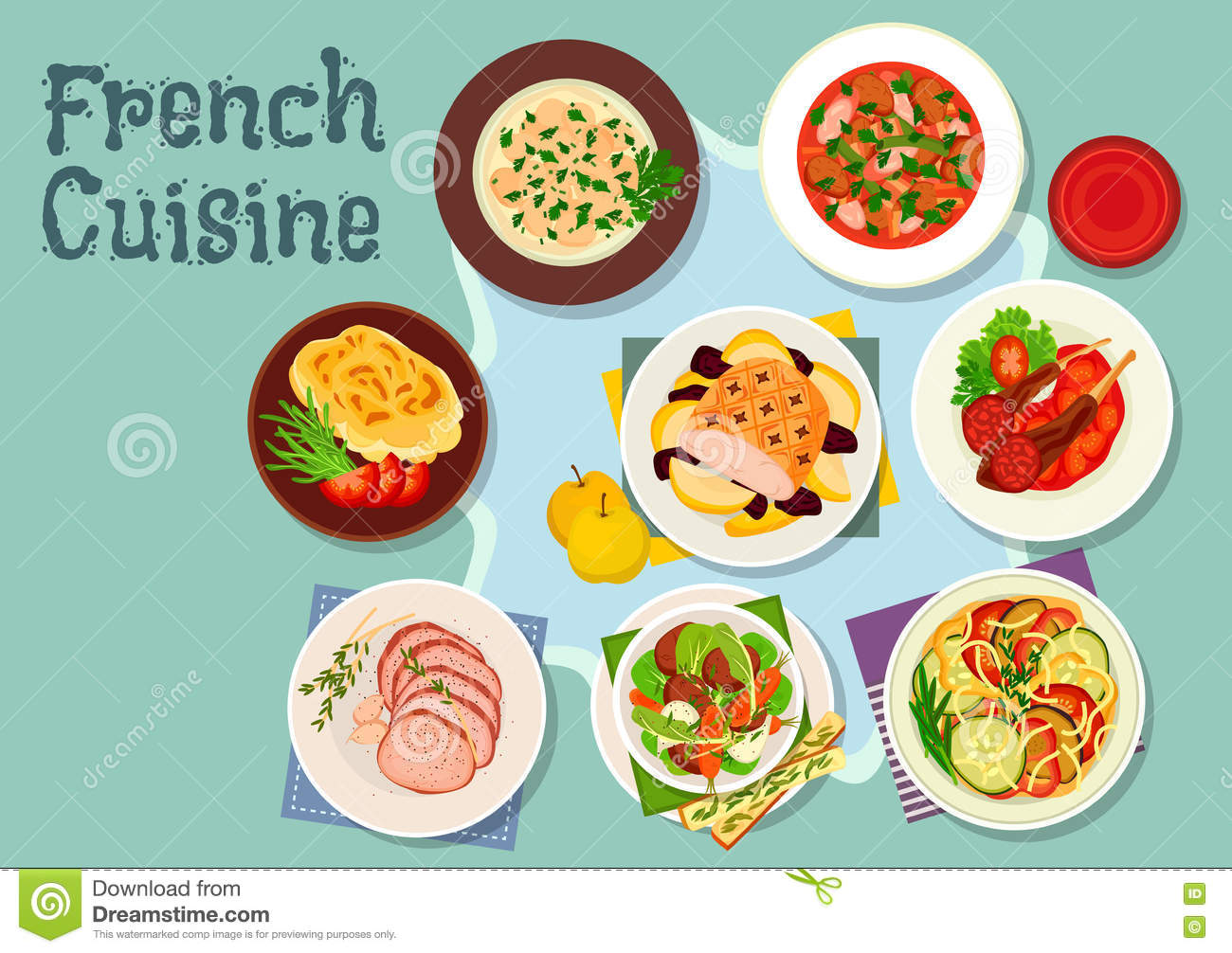 French Cuisine Icon For Restaurant Design Stock Vector  Image