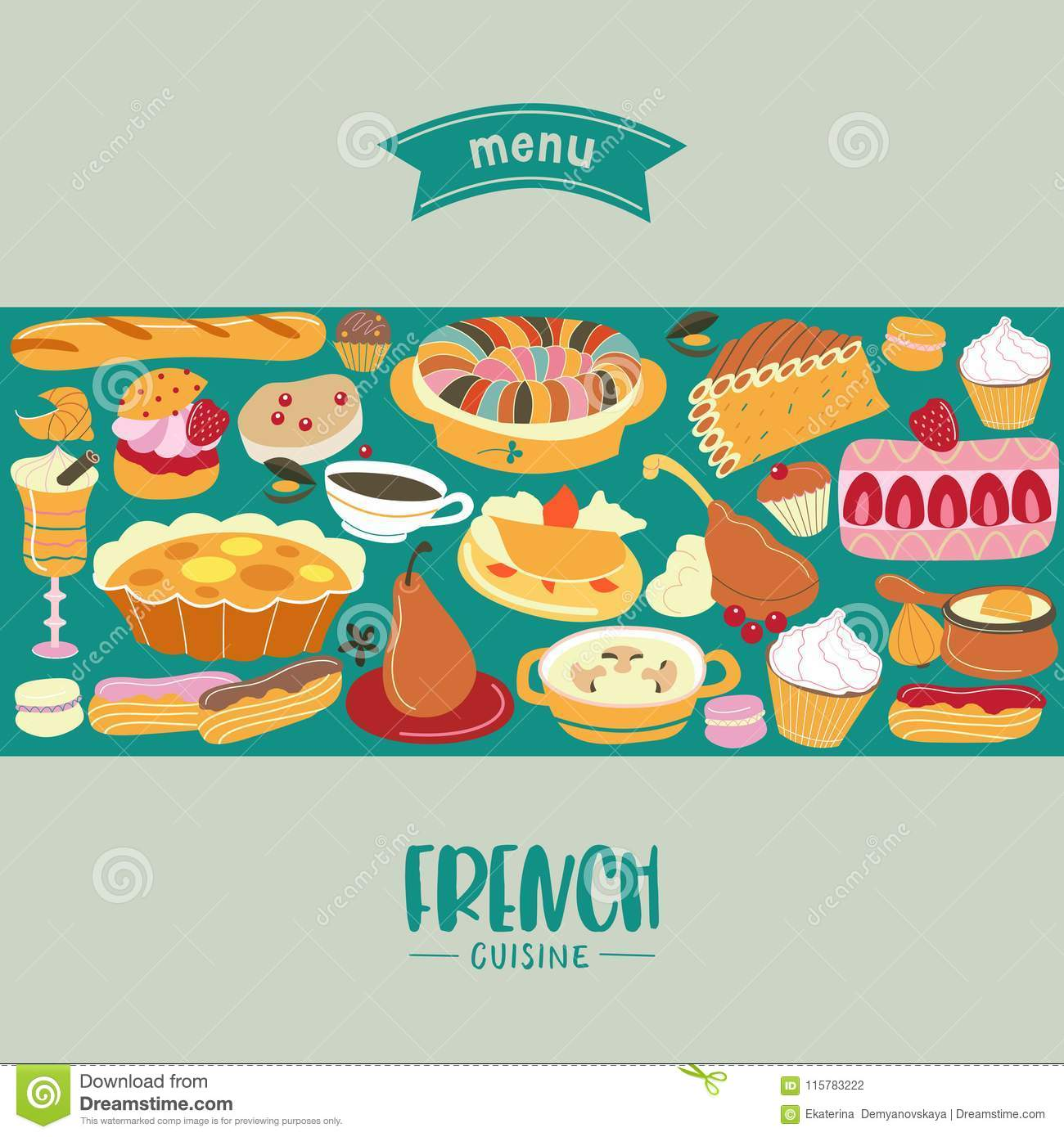 French Cuisine Menu A Set Of French Dishes And Pastries Stock Vector Illustration Of European Eclair 115783222