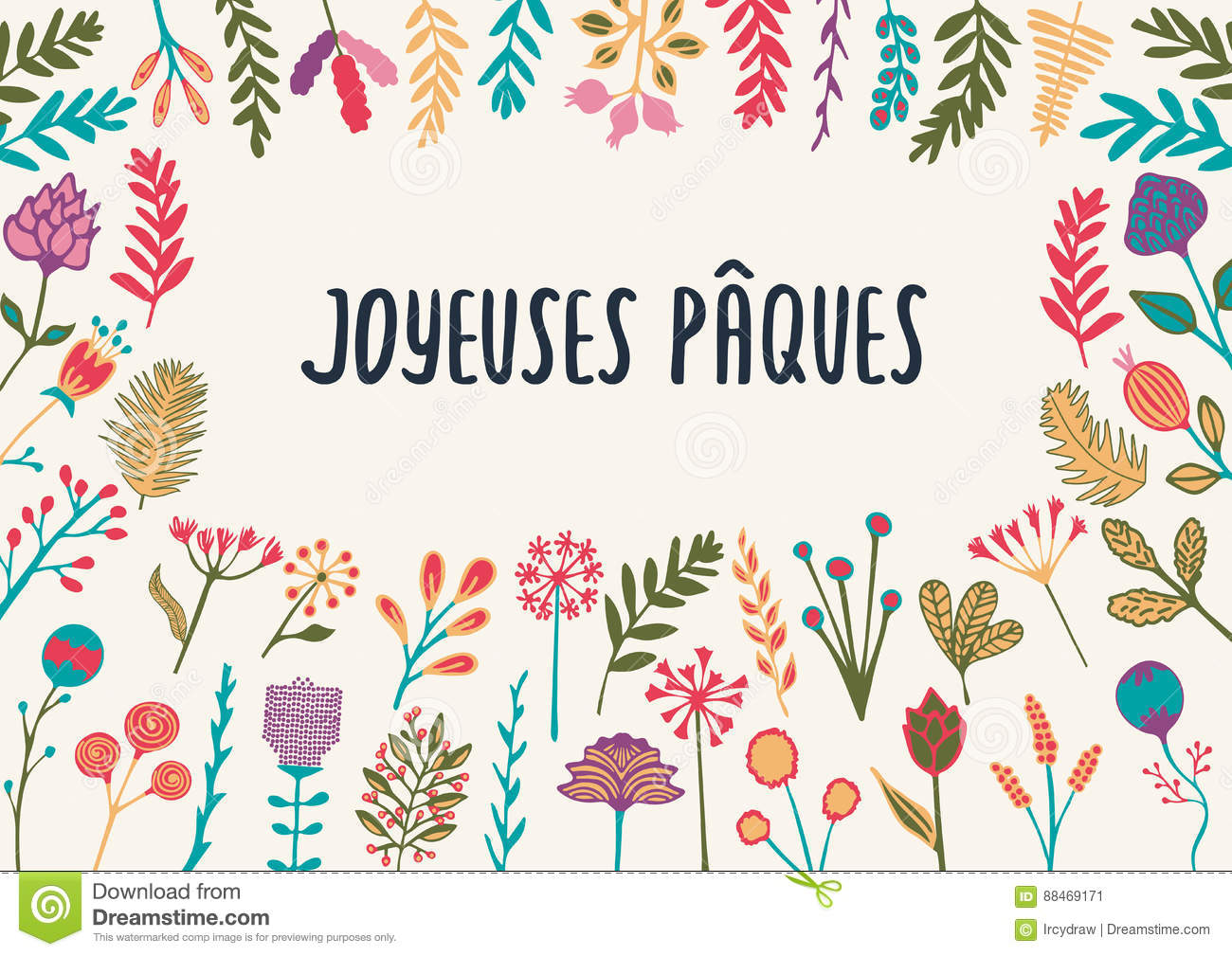 French easter greeting card joyeuses paques with hand drawn stock french easter greeting card joyeuses paques with hand drawn m4hsunfo