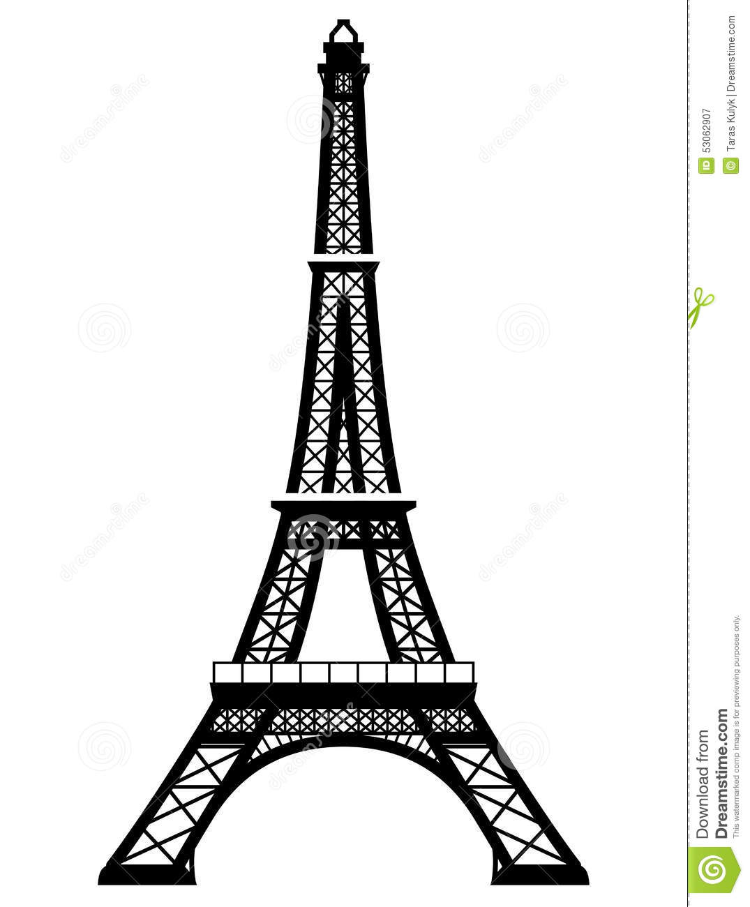 French Eiffel Tower In Black And White Color Stock Vector