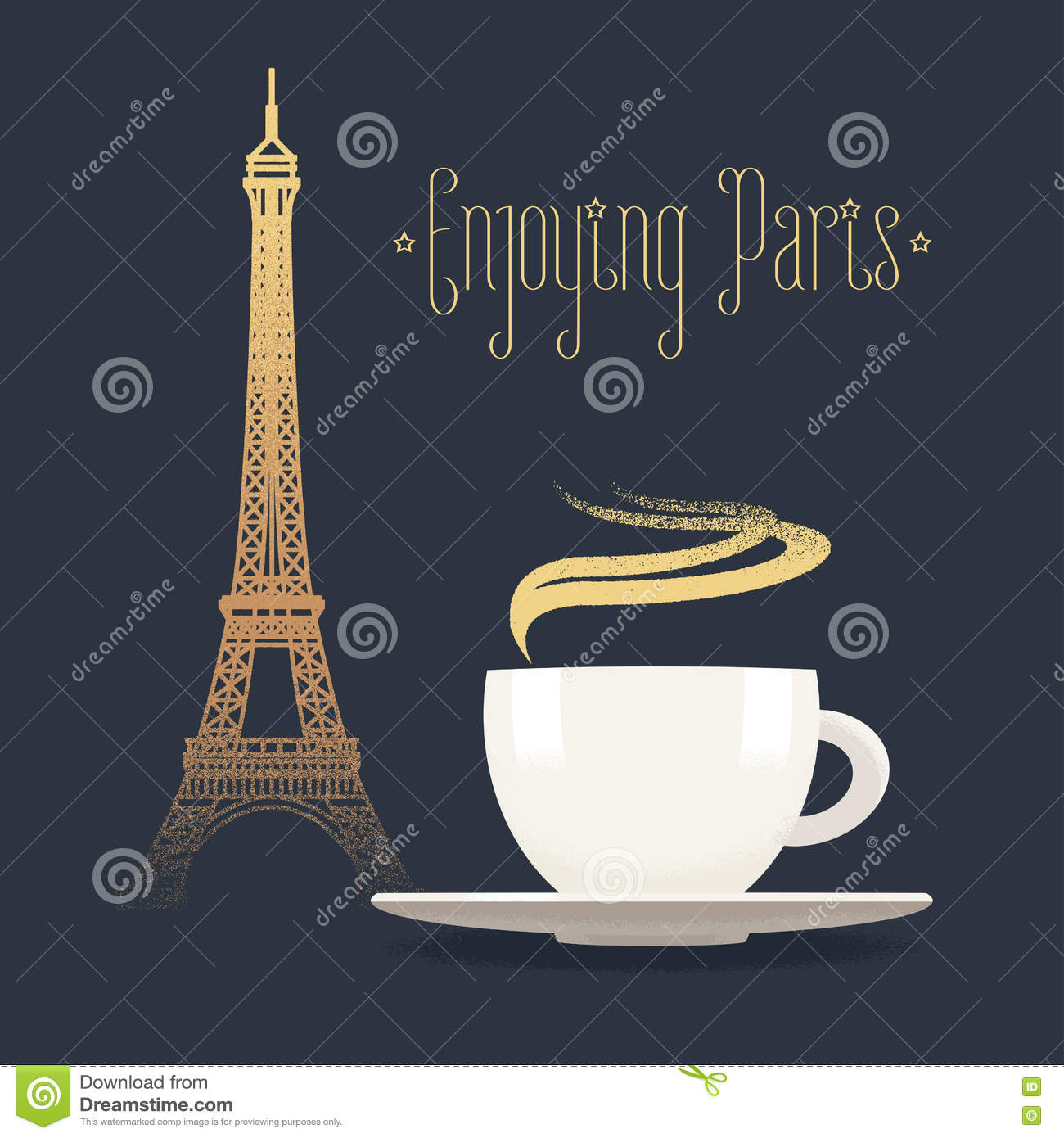 french eiffel tower and coffee with steam vector. Black Bedroom Furniture Sets. Home Design Ideas