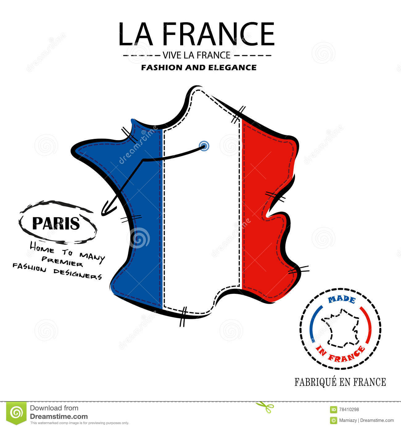 French Fashion Houses In Paris Location Vector Stock Vector