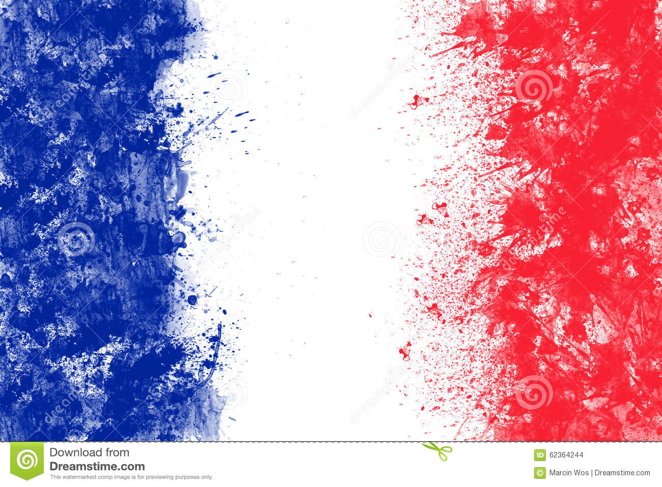 Wall Paint Patterns French Flag Created From Splash Colours Blue White Red