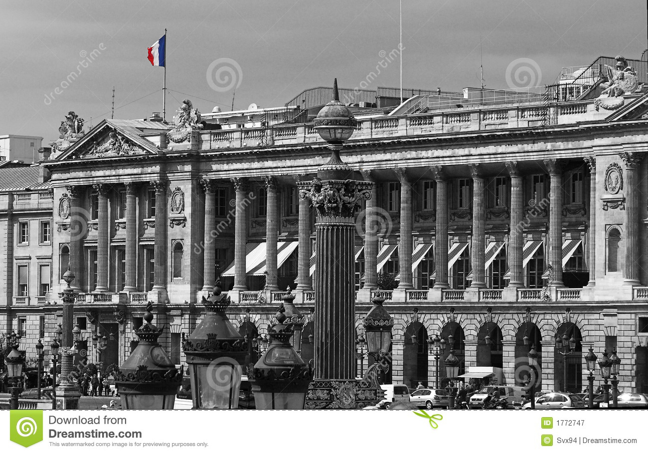 french flag in the place de la concorde avenue des champs elysees paris france stock image. Black Bedroom Furniture Sets. Home Design Ideas