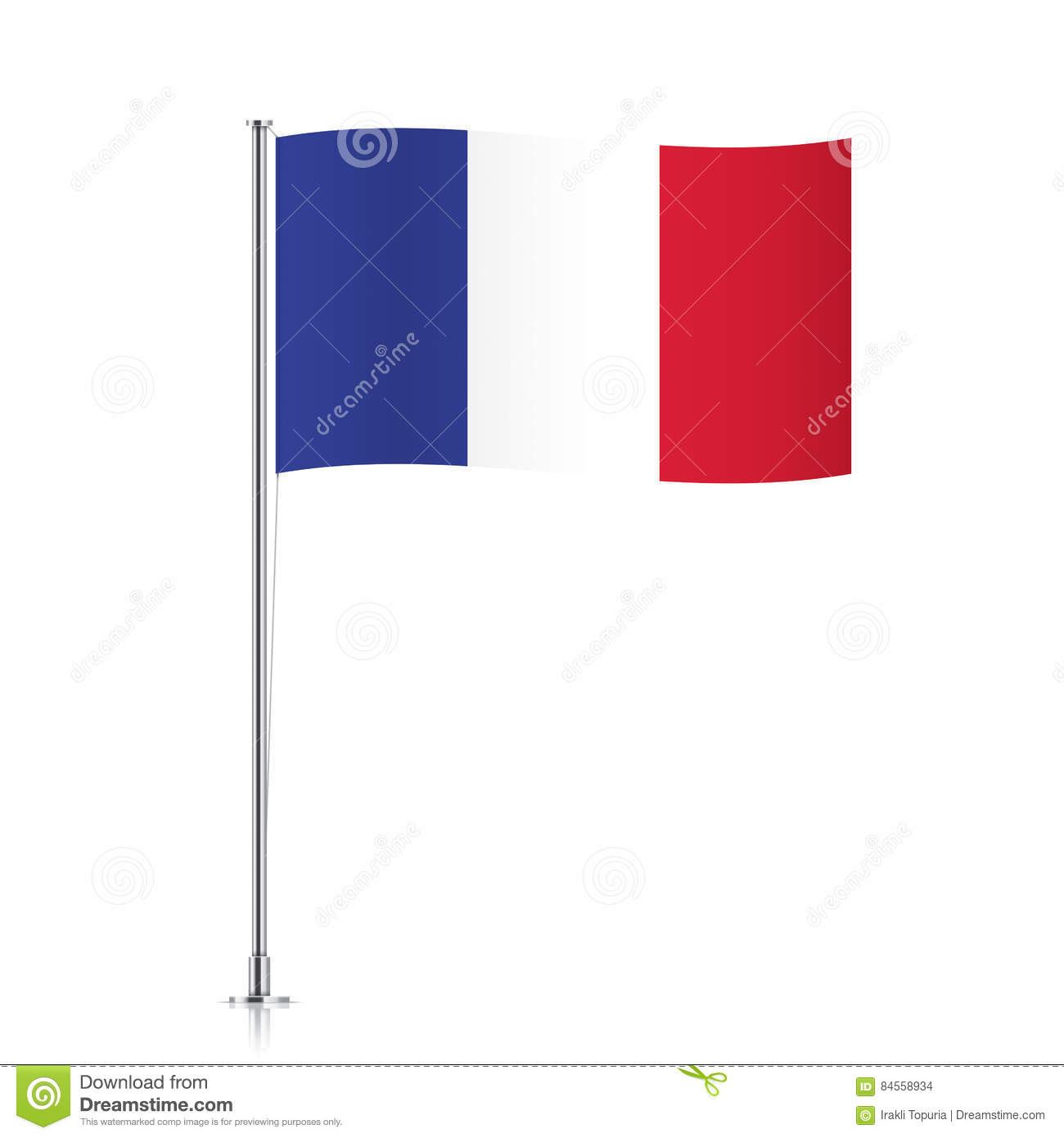 French Flag Waving On A Metallic Pole. Stock Vector - Illustration ...
