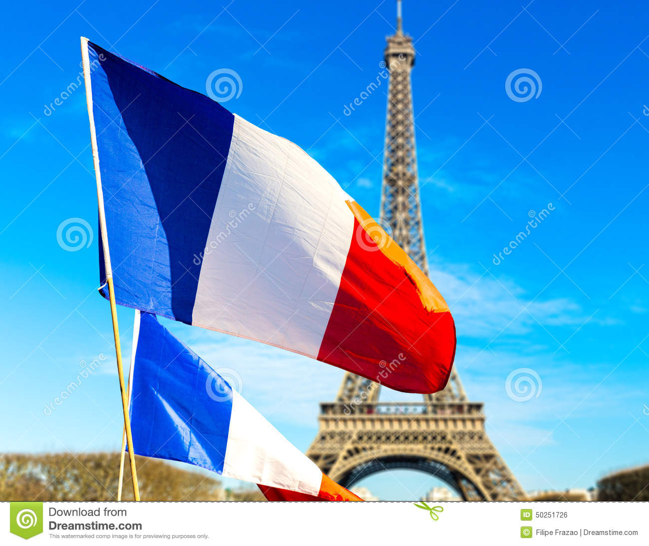 French flag waving in Paris, France