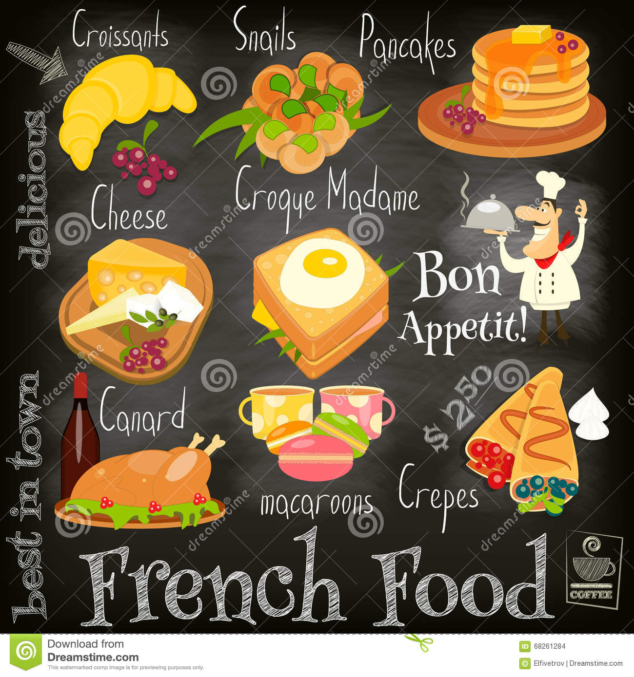 French Food Menu Card with Traditional Meal on Chalkboard Background ... French Menu Clipart
