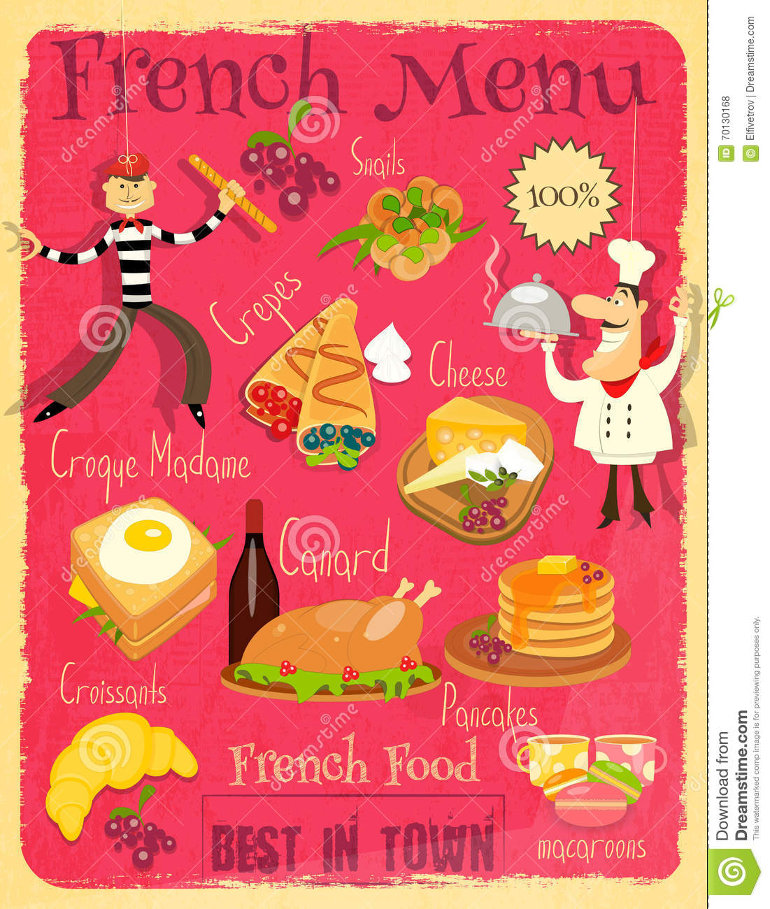 Maison Contemporaine Bois Toit Plat : French Food Menu Card with Traditional Meal Retro Vintage Design