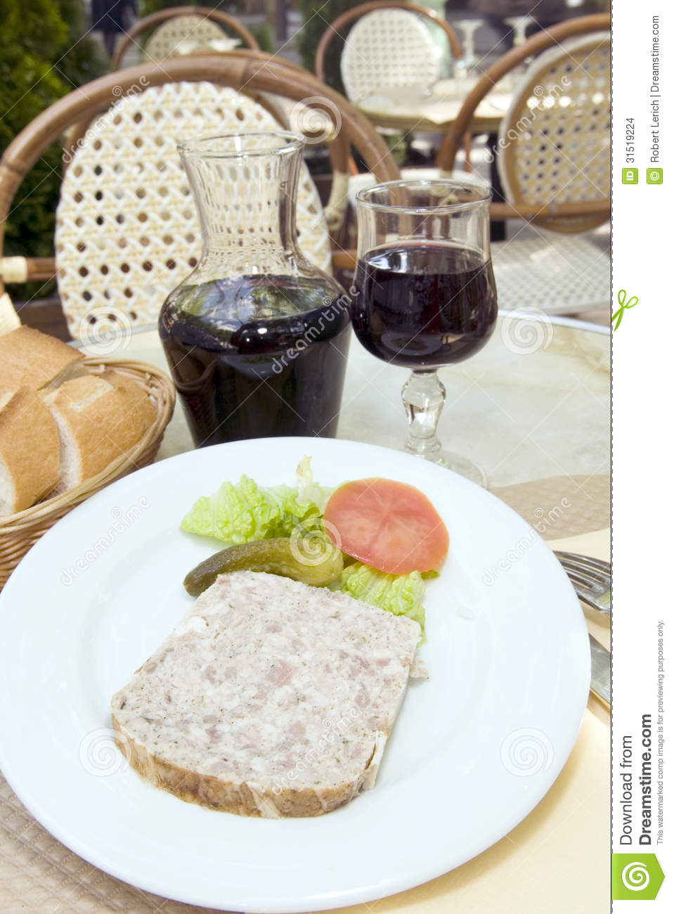 French Food Pate Terrine Of Rabbit With Red Wine In Cafe Photogr Stock ...