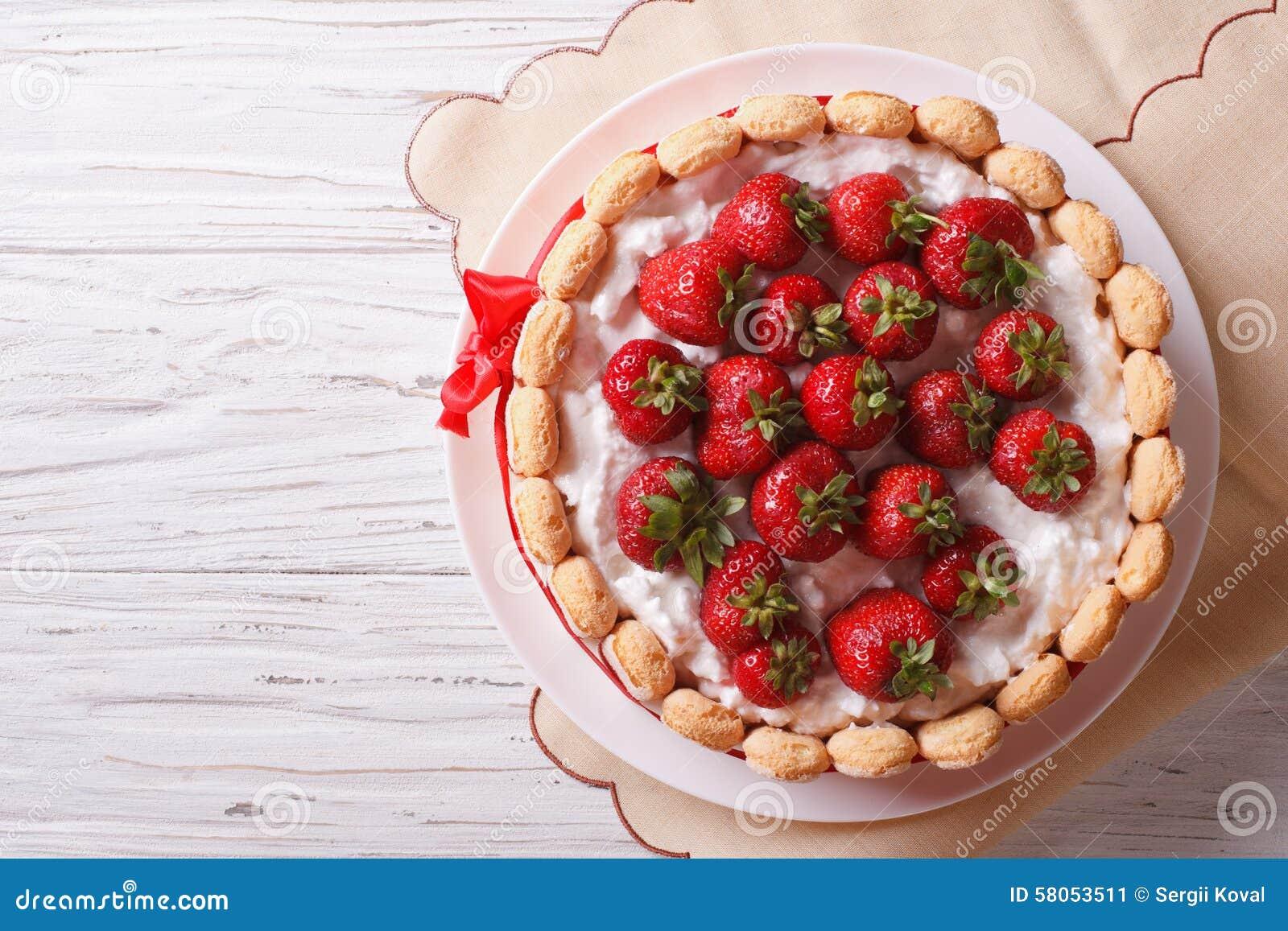 French Fresh Strawberry charlotte cake. horizontal top view