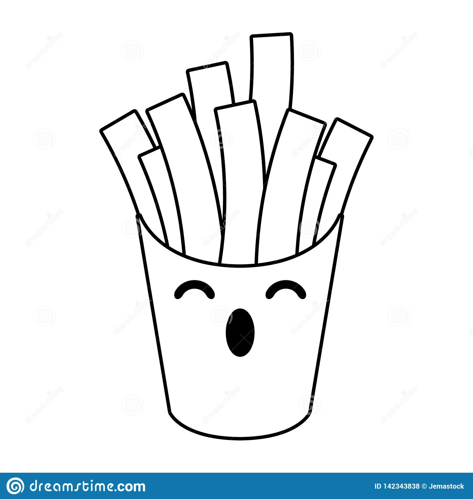 French Fries Box Kawaii Cartoon In Black And White Stock Vector