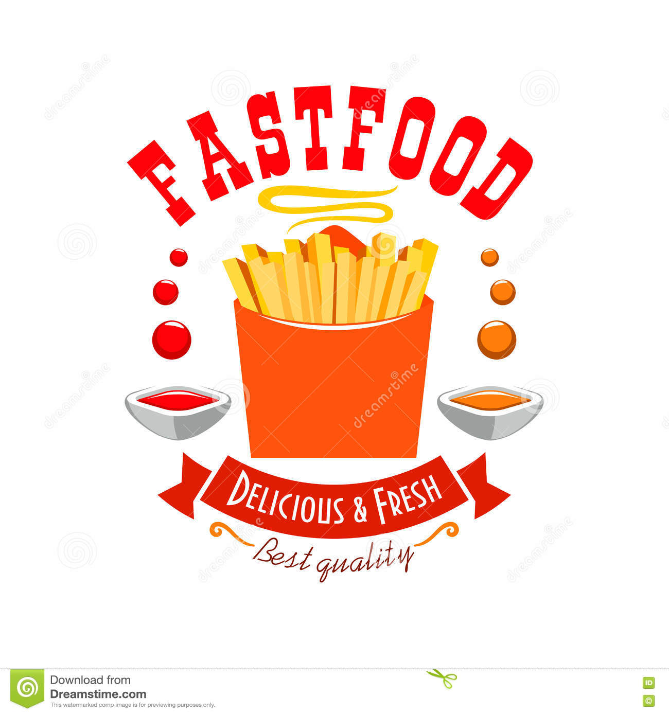 french fries emblem. best quality fast food icon stock vector