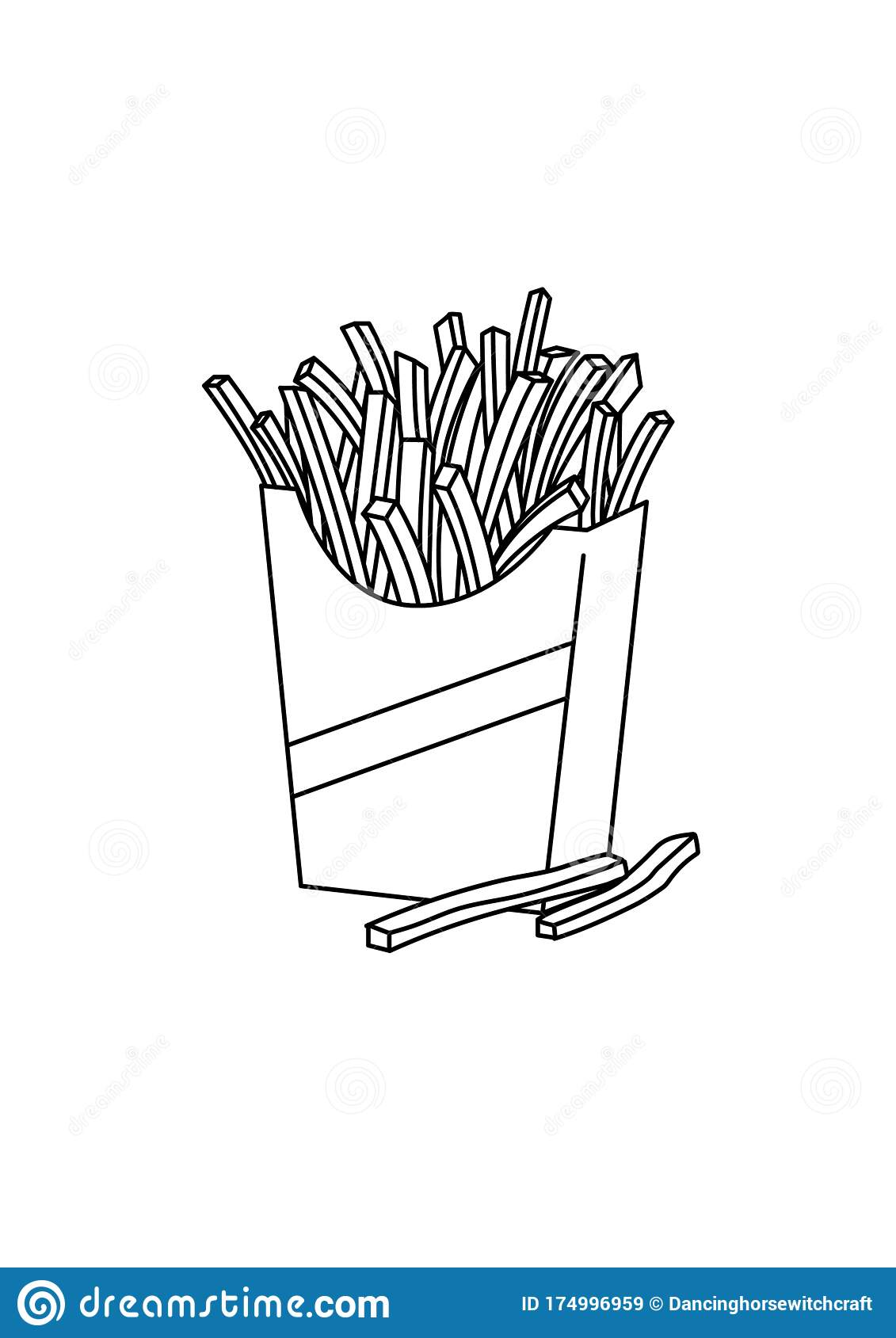 - French Fries Food Black And White Lineart Drawing Illustration