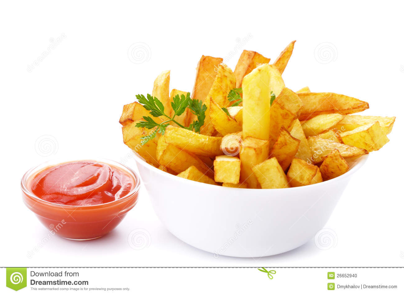 Stock Photo: French fries with ketchup. Image: 26652940