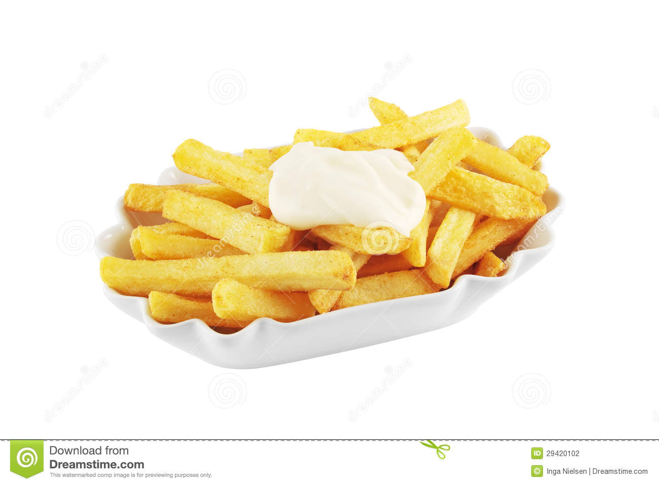 Unhealthy Food Plate French Fries With Mayo...