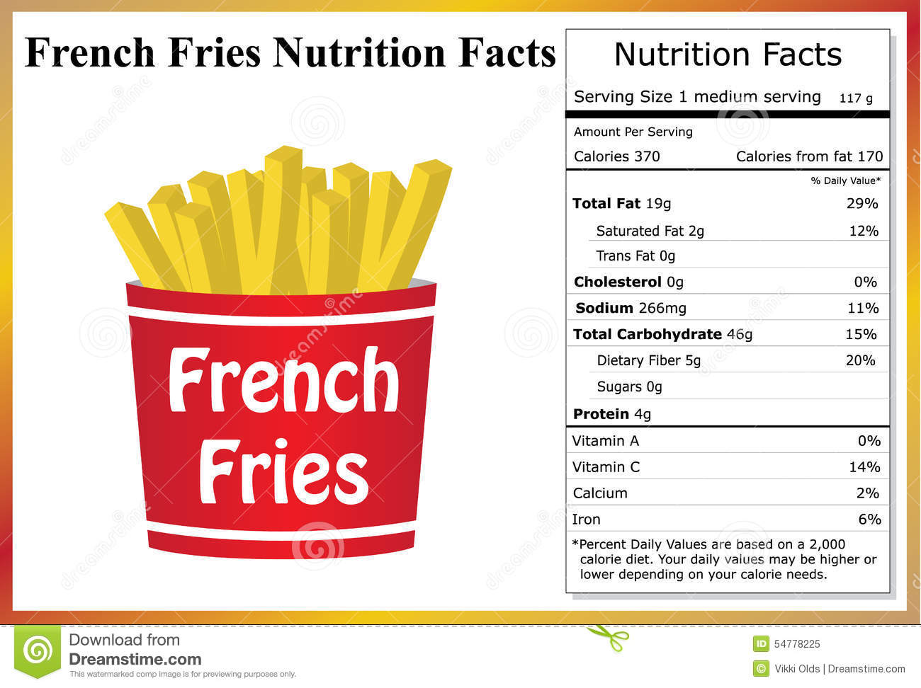 french fries nutrition facts illustration 54778225 - megapixl