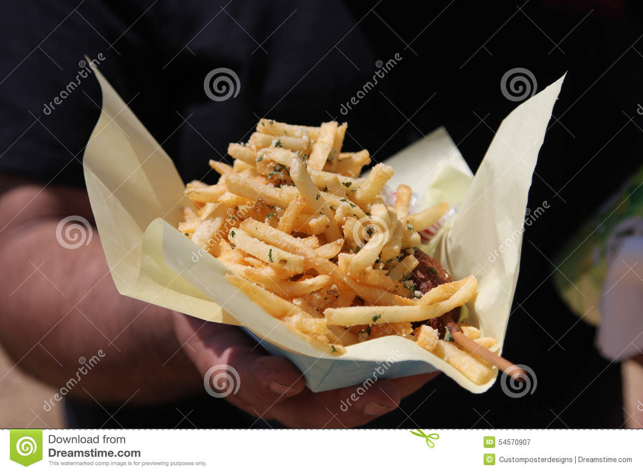 Download French fries. stock image. Image of hand, carnival, black - 54570907