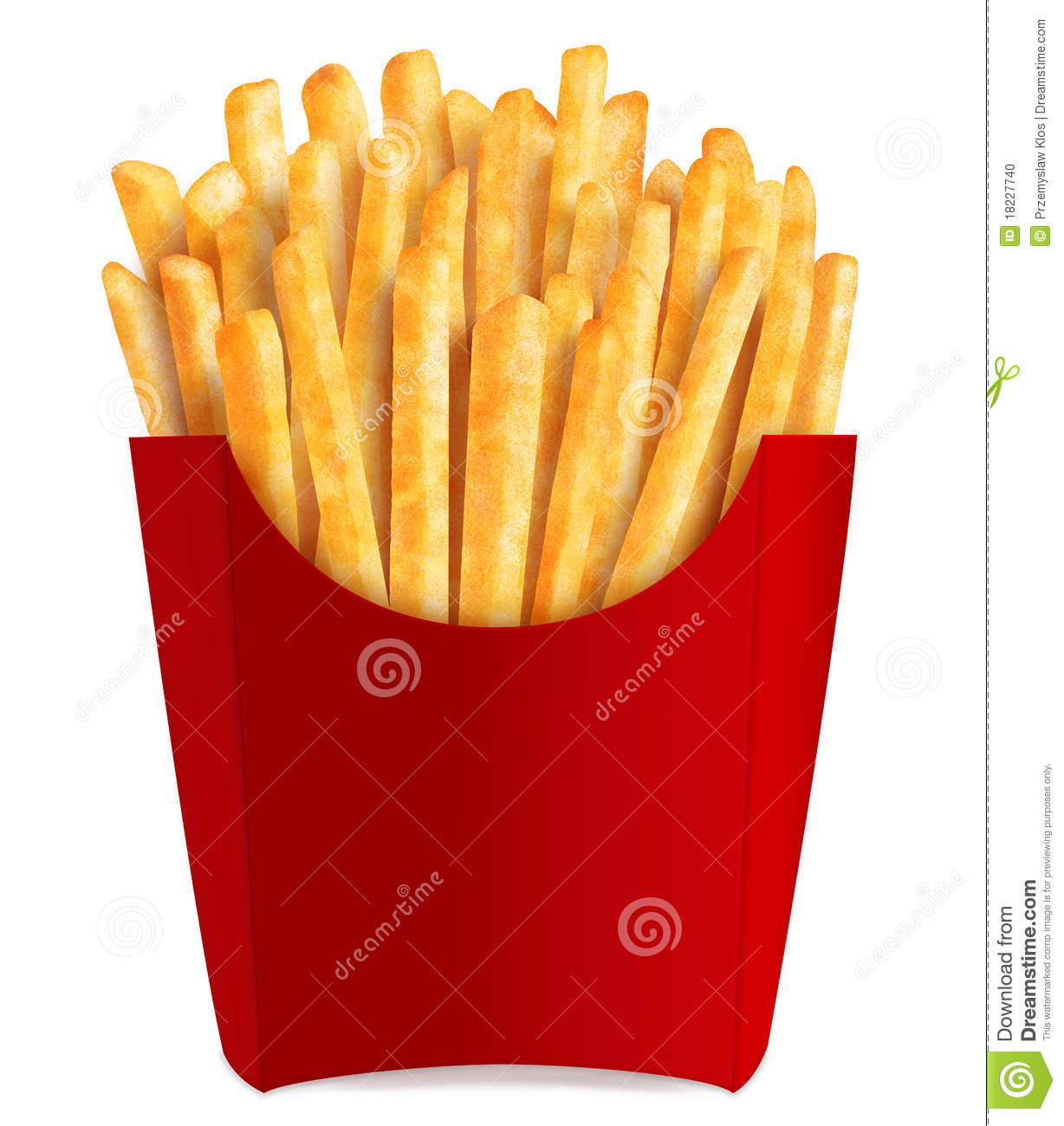 French fries in popular red box