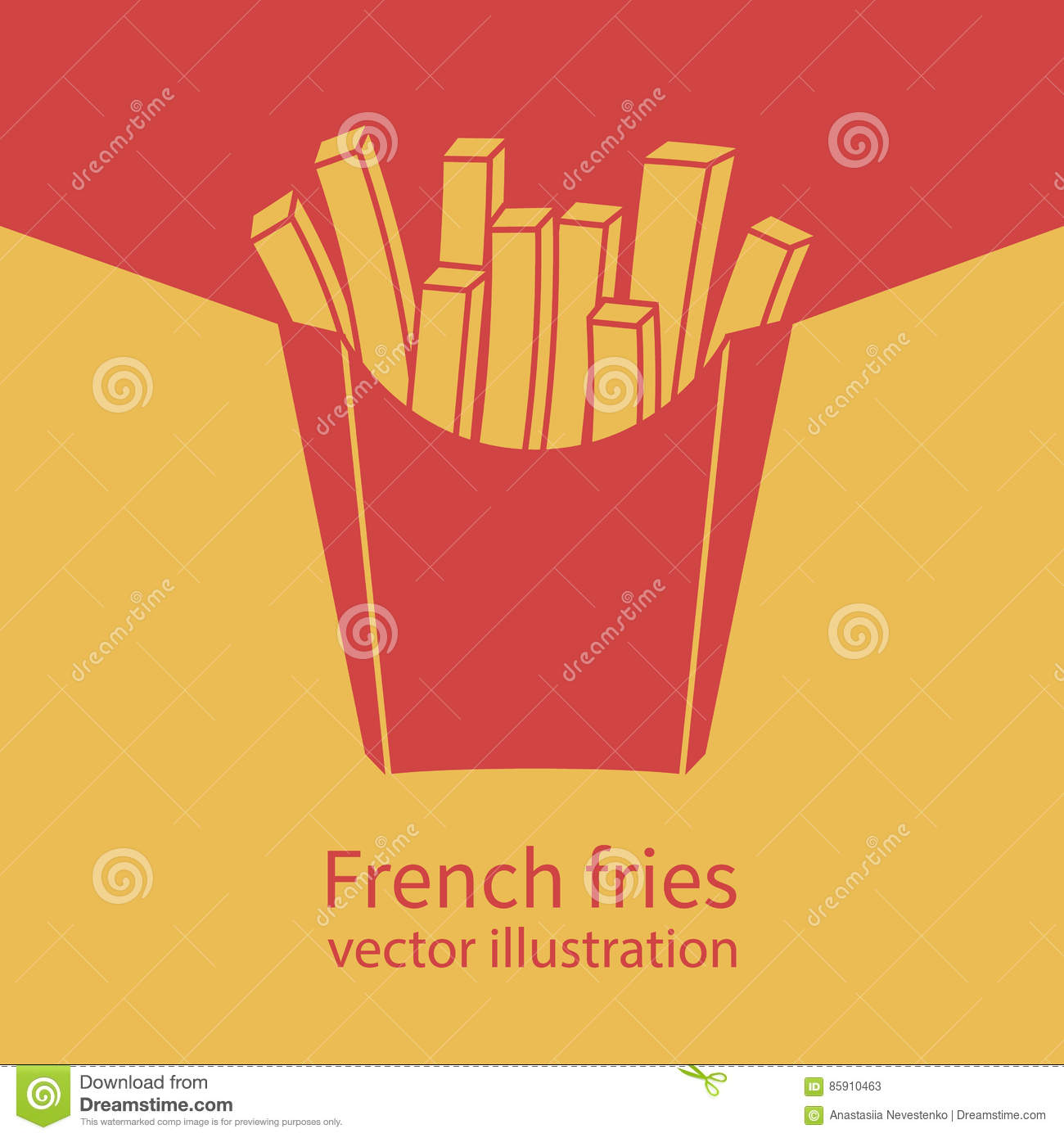French Fries In Paper Red Box IconVector Illustration Flat Design Fast Food Icon Template Banner For Advertising Promotion Space Text