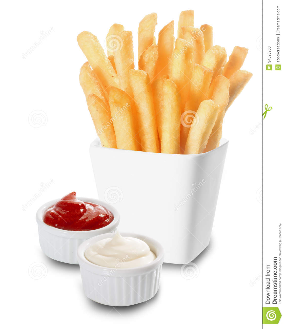 French Fries Served With Mayo And Ketchup Stock Photo ...