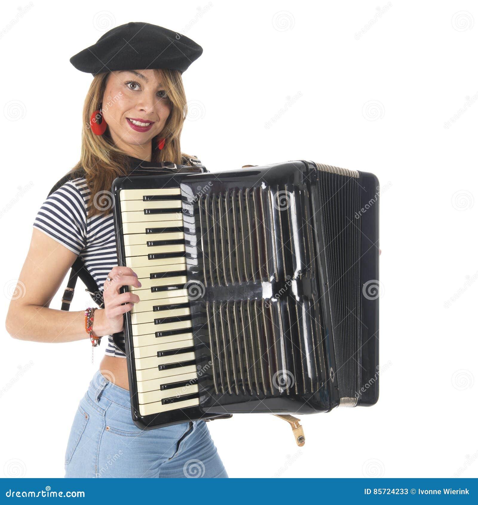 French girl with accordion stock image  Image of studio
