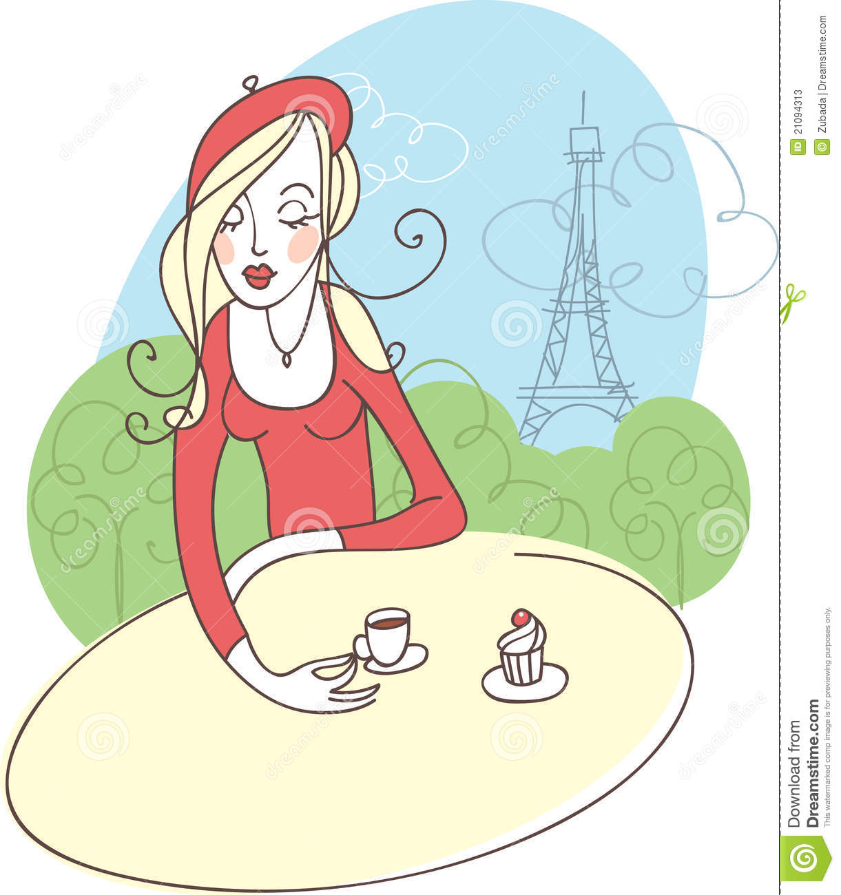 French Girl In Cafe Stock Photos Image 21094313