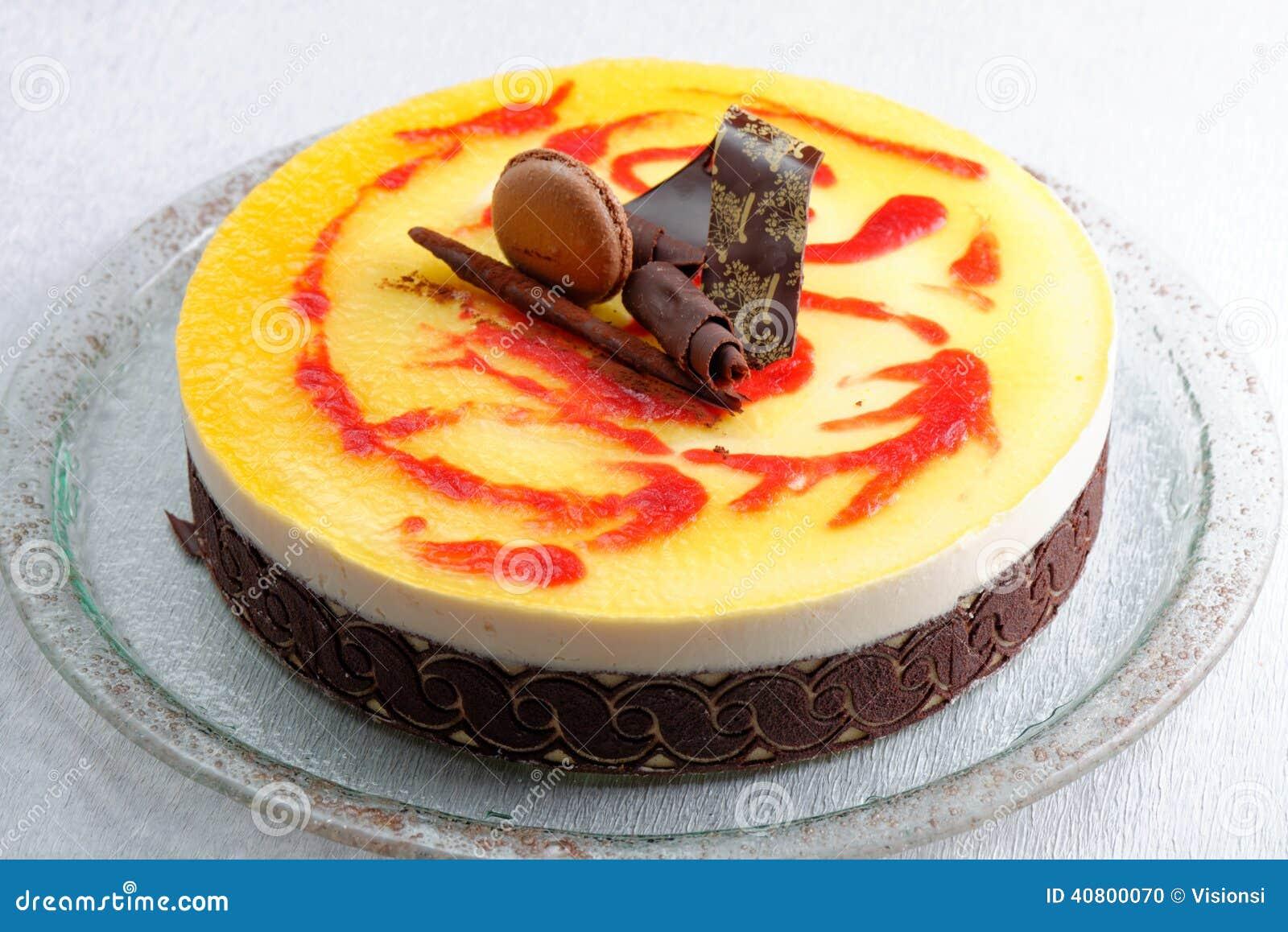 French Gourmet Fruit-chocolate Mousse Cake Stock Photo - Image ...