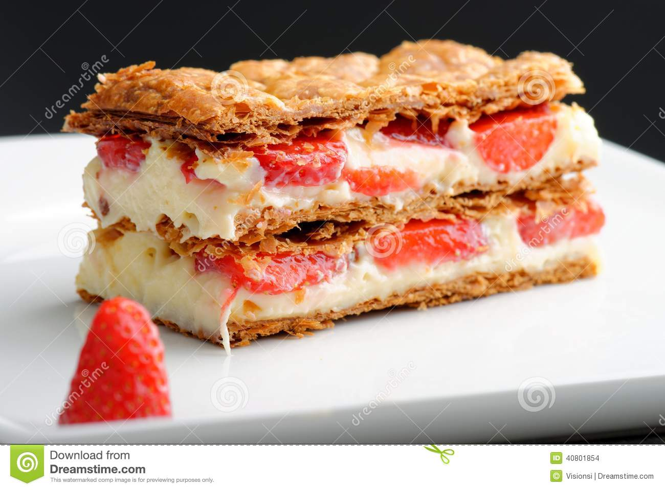 Download French Gourmet Strawberry Mille Feuille Stock Photo - Image of fresh, blueberries: 40801854