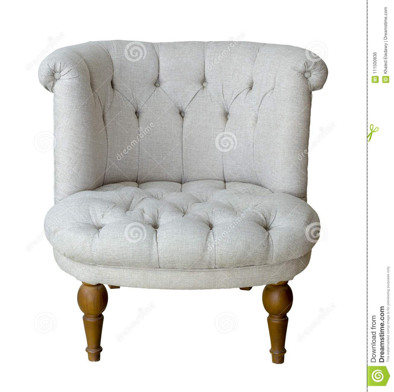 French Grey Tub Chair With Wooden Legs Isolated On White Background  Including Clipping Path