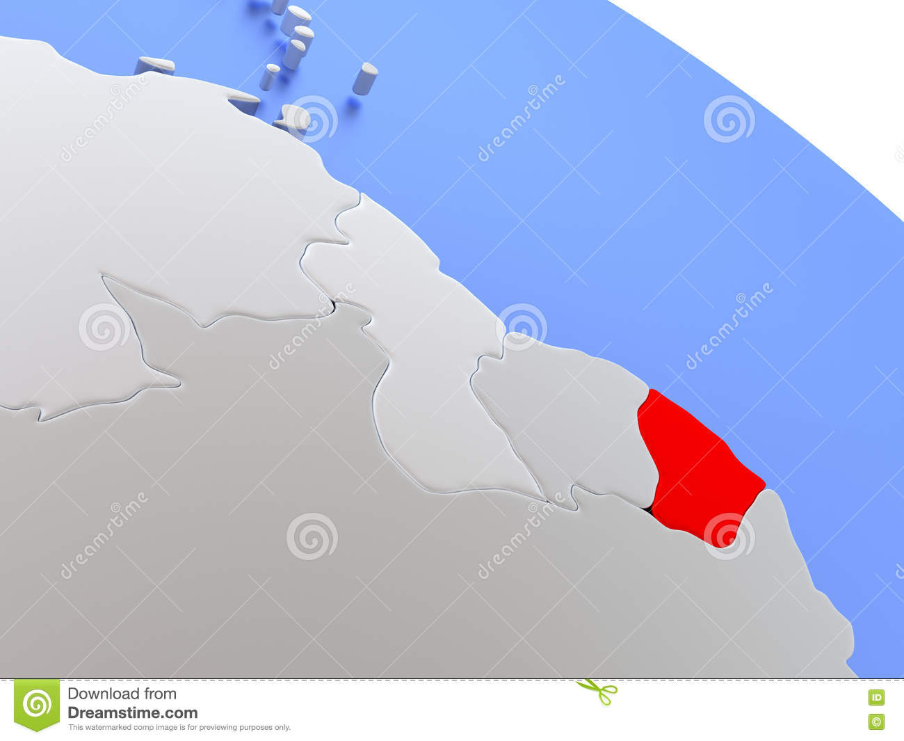 French Guiana On World Map Stock Illustration Image Of Country - Map of french guiana world