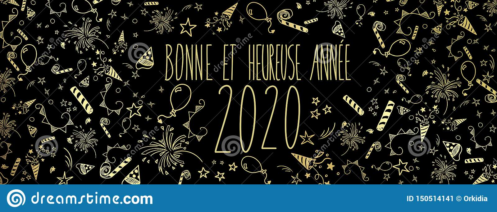 French Happy New Year 2020 Stock Vector Illustration Of Doodle 150514141