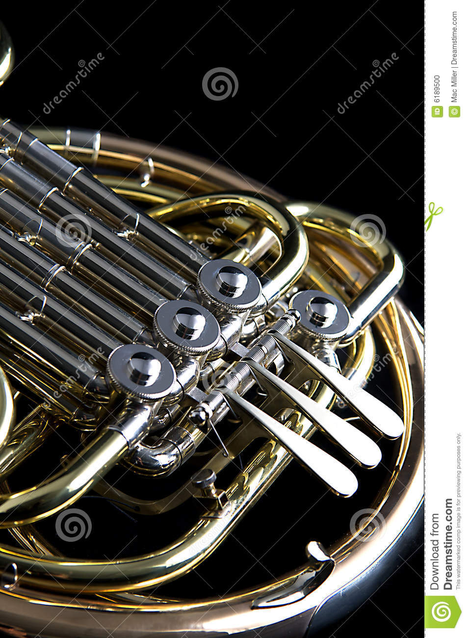French Horn On Black Background Stock Photo - Image: 6189500