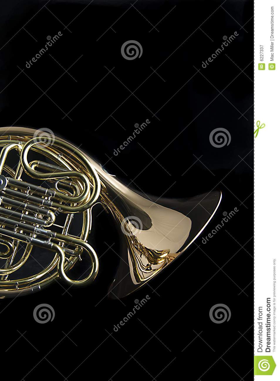 French Horn On Black Background Royalty Free Stock ...
