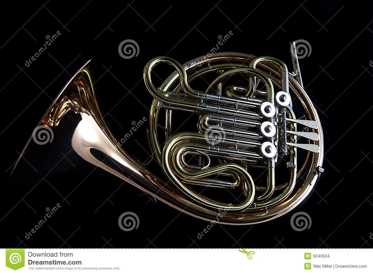 French Horn On Black Background Stock Images - Image: 6240504