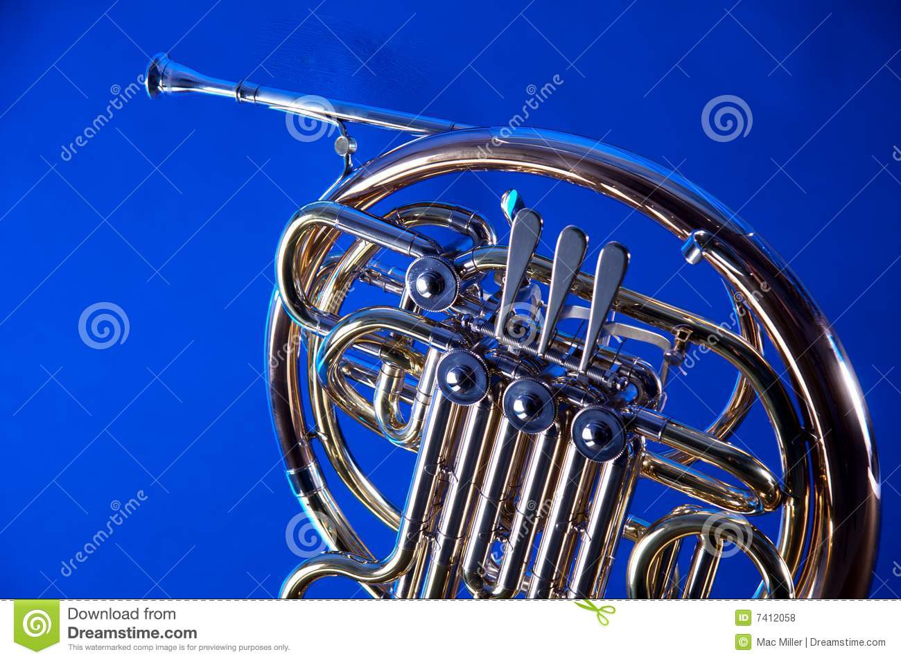 French Horn Isolated On Blue Royalty Free Stock Photos ...