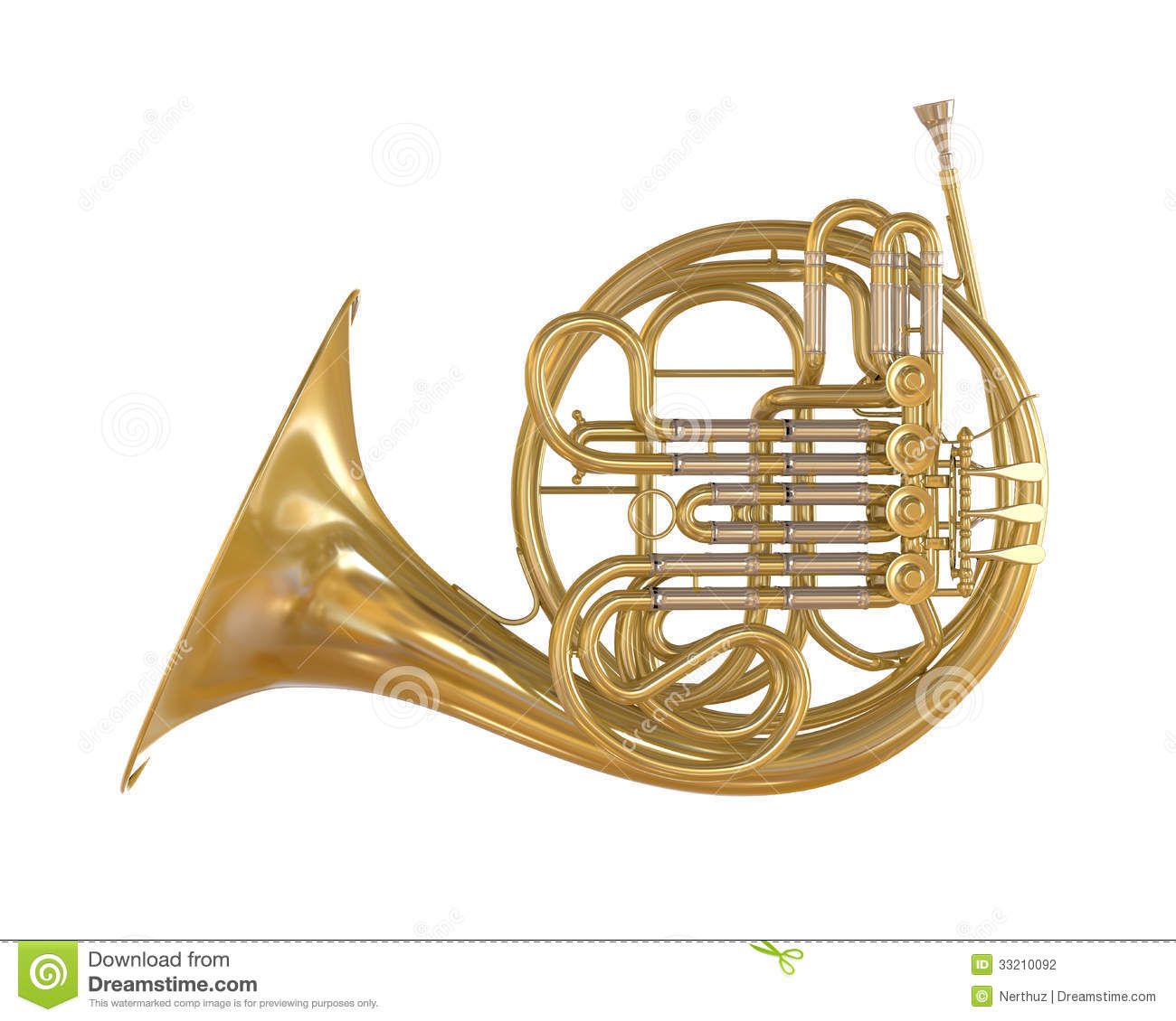 French Horn Isolated Stock Photography - Image: 33210092