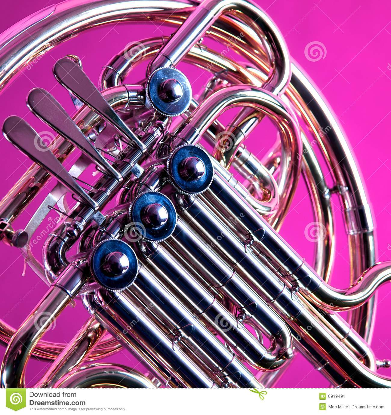 French Horn On Pink Background Stock Image - Image: 6919491